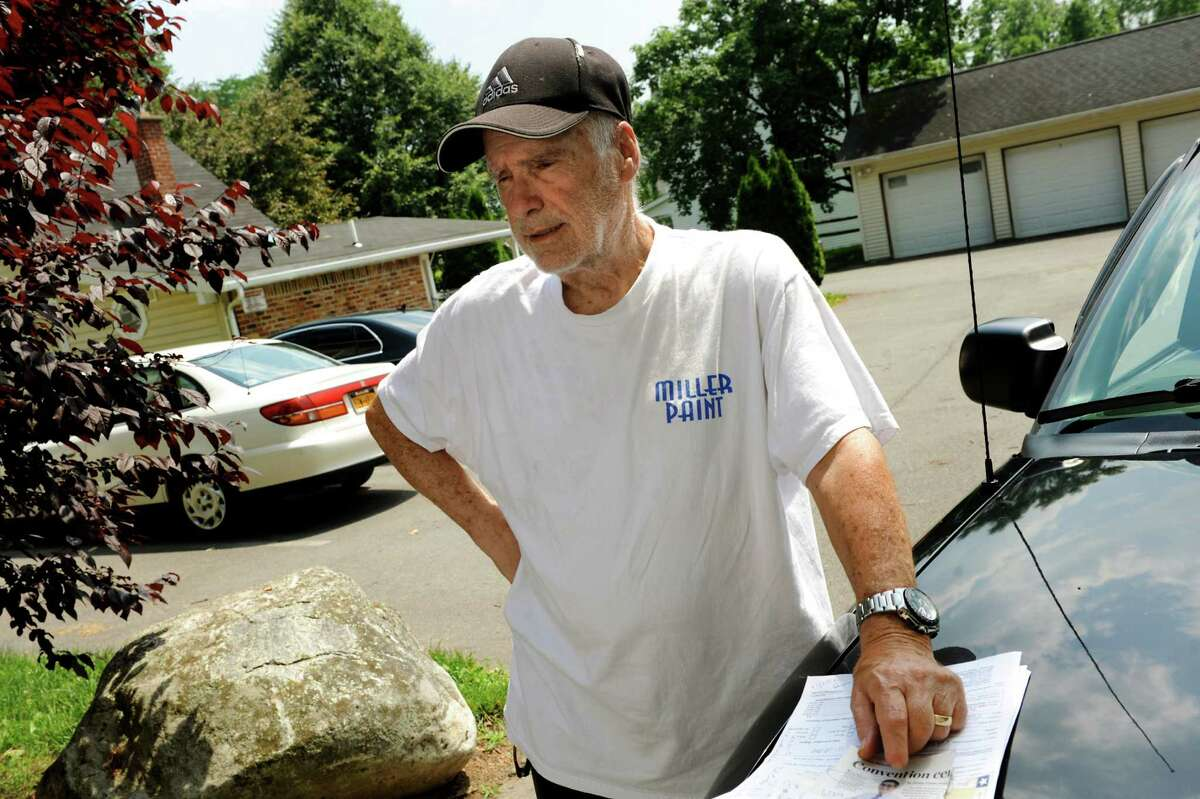 Property owner Joe Seger talks about his stolen anchor, which weighs as much as 500 pounds, on Tuesday, June 25, 2013, at Reges Apartments in Albany, N.Y. Seger is seeking help in finding the stolen ship's anchor that has sentimental value to him. (Cindy Schultz / Times Union)