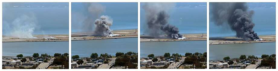 This combination of photos provided by Dawn Siadatan shows Asiana Airlines flight 214  just moments after crashing at the San Francisco International Airport in San Francisco, Saturday, July 6, 2013. The Asiana Airlines Boeing 777 crashed while landing after a likely 10-hour-plus flight from Seoul, South Korea. The flight originated in Shanghai and stopped in Seoul before the long trek to San Francisco. Photo: Dawn Siadatan, Associated Press