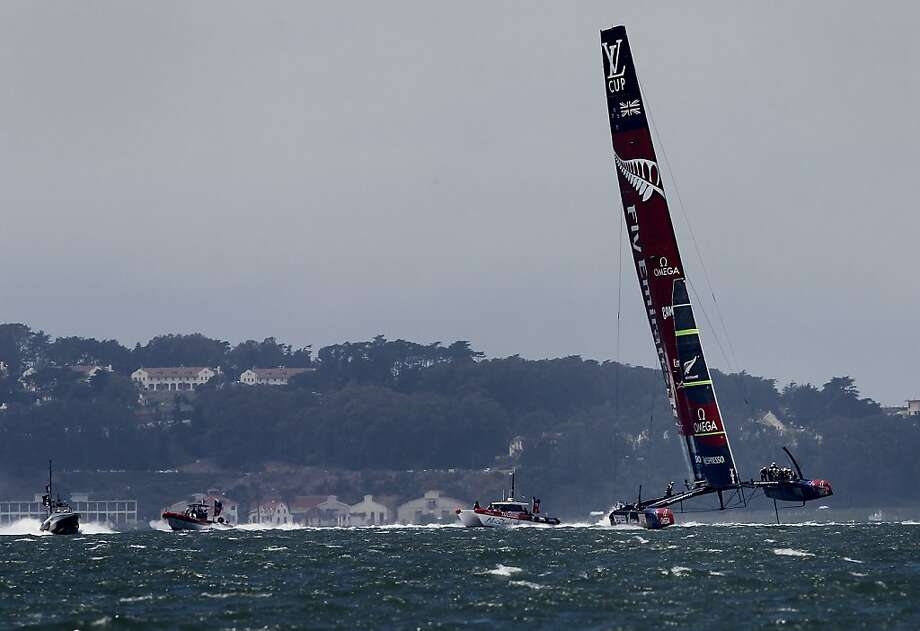 Emirates Team New Zealand sails alone and picks up the first point of the regatta. Photo: Brant Ward, The Chronicle