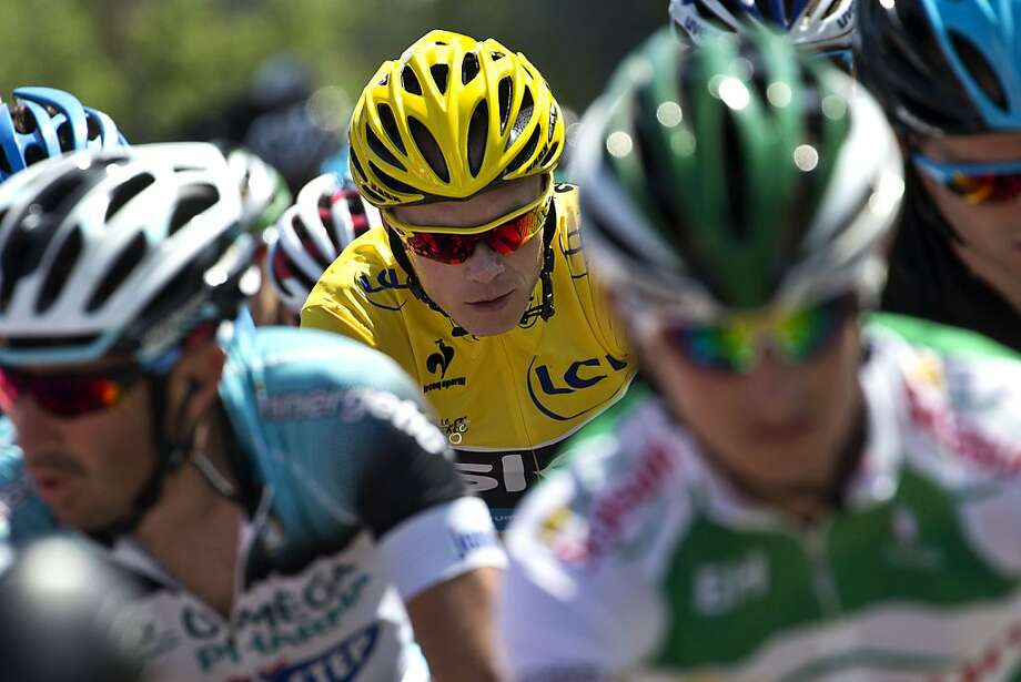 Overall leader Christopher Froome was isolated from his Sky teammates Sunday but managed to retain his 1-minute, 25-second lead over Alejandro Valverde. Photo: Jeff Pachoud, AFP/Getty Images