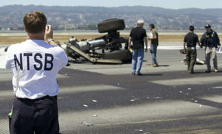 The National Transportation Safety Board tweeted photos of their investigation of Asiana airliner crash at San Francisco International Airport Saturday, July 6, 2013. This photograph shows the landing gear. Photo: NTSB