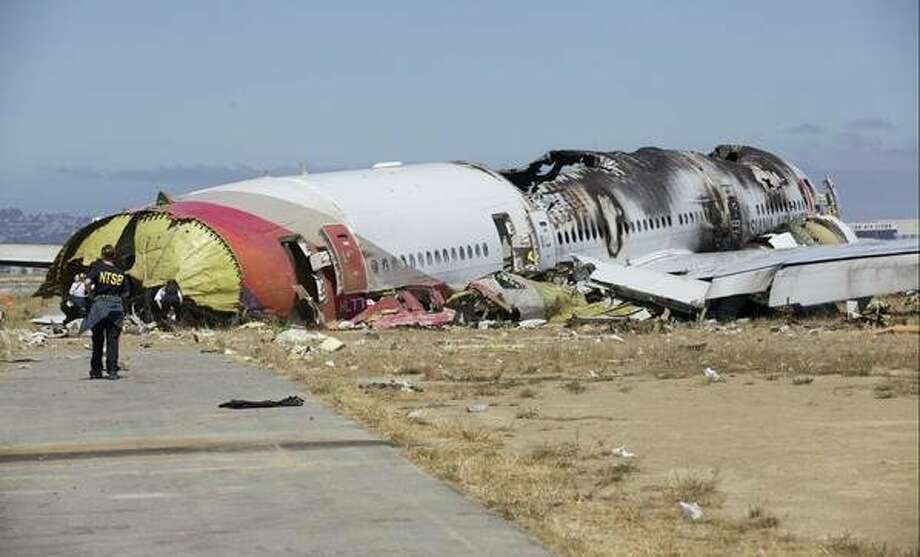 The National Transportation Safety Board tweeted photos of the Asiana Airline jet that crashed at San Francisco International Airport Saturday, July 6, 2013. Photo: NTSB