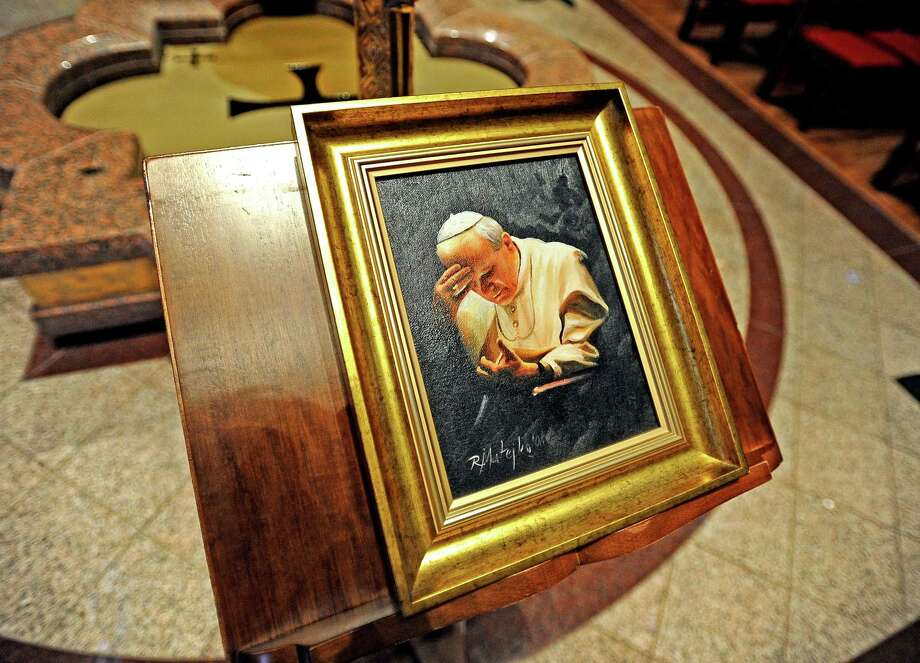 Pope John Paul II's zucchetto is displayed at St. Anthony Cathedral Basilica in Beaumont. There is also a portrait of the pope wearing the zucchetto.