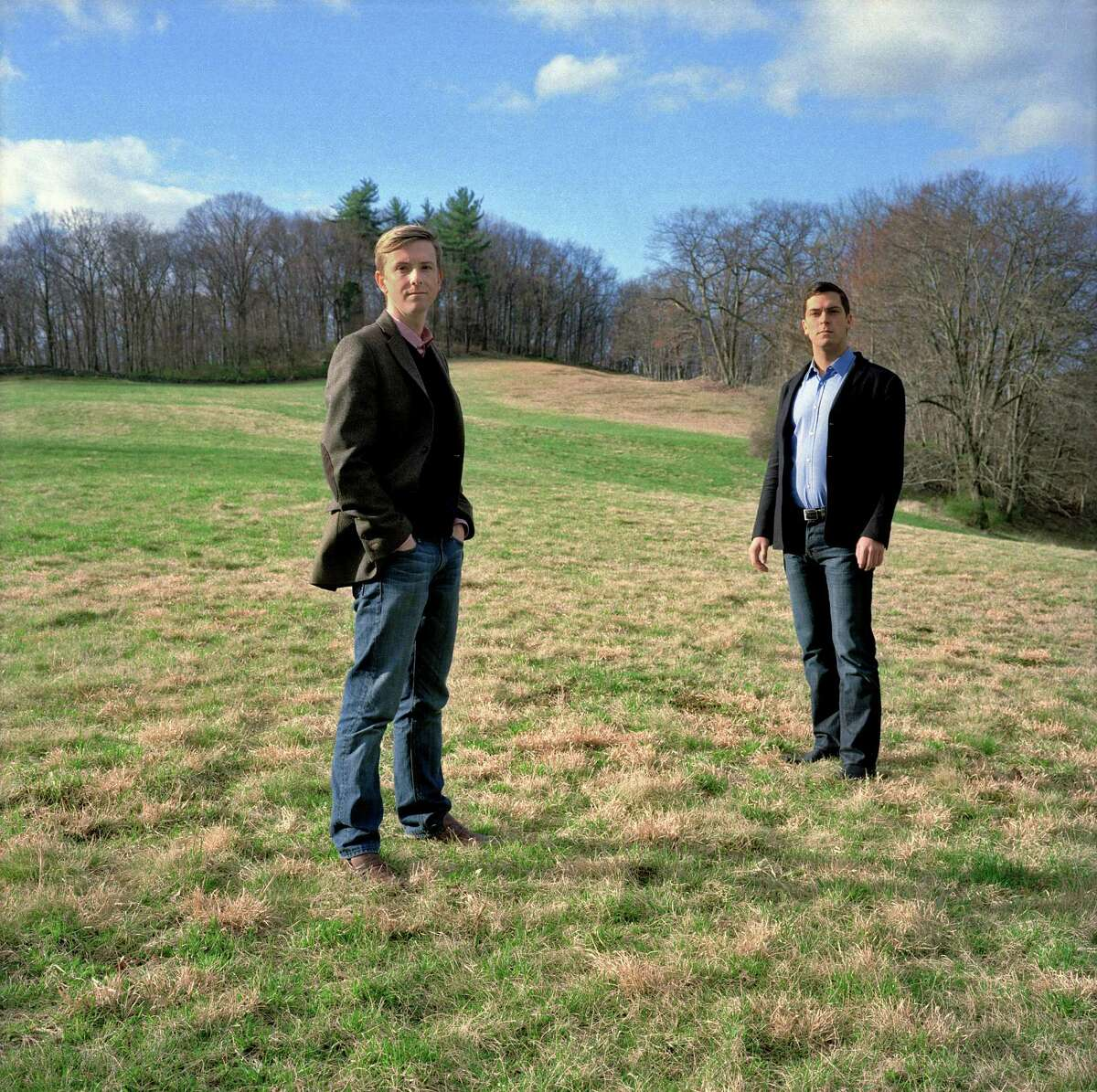 Chris Hughes, left, a founder of Facebook, and his fiance, Sean Eldridge, an investor and political activist, in Garrison, N.Y., March 27, 2012. Since moving to New York in 2009, Hughes and Eldridge have emerged as a significant force in political circles, becoming enthusiastic fund-raisers for the progressive issues they support, which include gay civil rights. (Danny Ghitis/The New York Times)