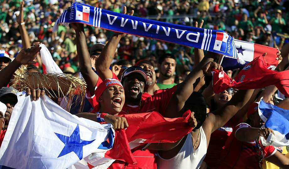 Panama fans celebrate after a Panama goal against Mexico in the first half during a CONCACAF Gold Cup soccer match Sunday, July 7, 2013, in Pasadena, Calif. (AP Photo/Alex Gallardo) Photo: Alex Gallardo, Associated Press
