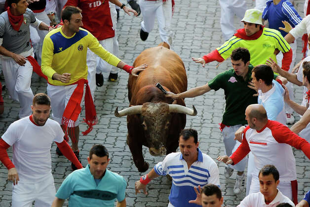 Revelers run with an Alcurrucen's ranch fighting bull entering the bullring during the second day of the San Fermin Running Of The Bulls festival, on July 7, 2013 in Pamplona, Spain. The annual Fiesta de San Fermin, made famous by the 1926 novel of US writer Ernest Hemmingway 'The Sun Also Rises', involves the running of the bulls through the historic heart of Pamplona, this year for nine days from July 6-14. Photo: Pablo Blazquez Dominguez, Getty Images / 2013 Getty Images