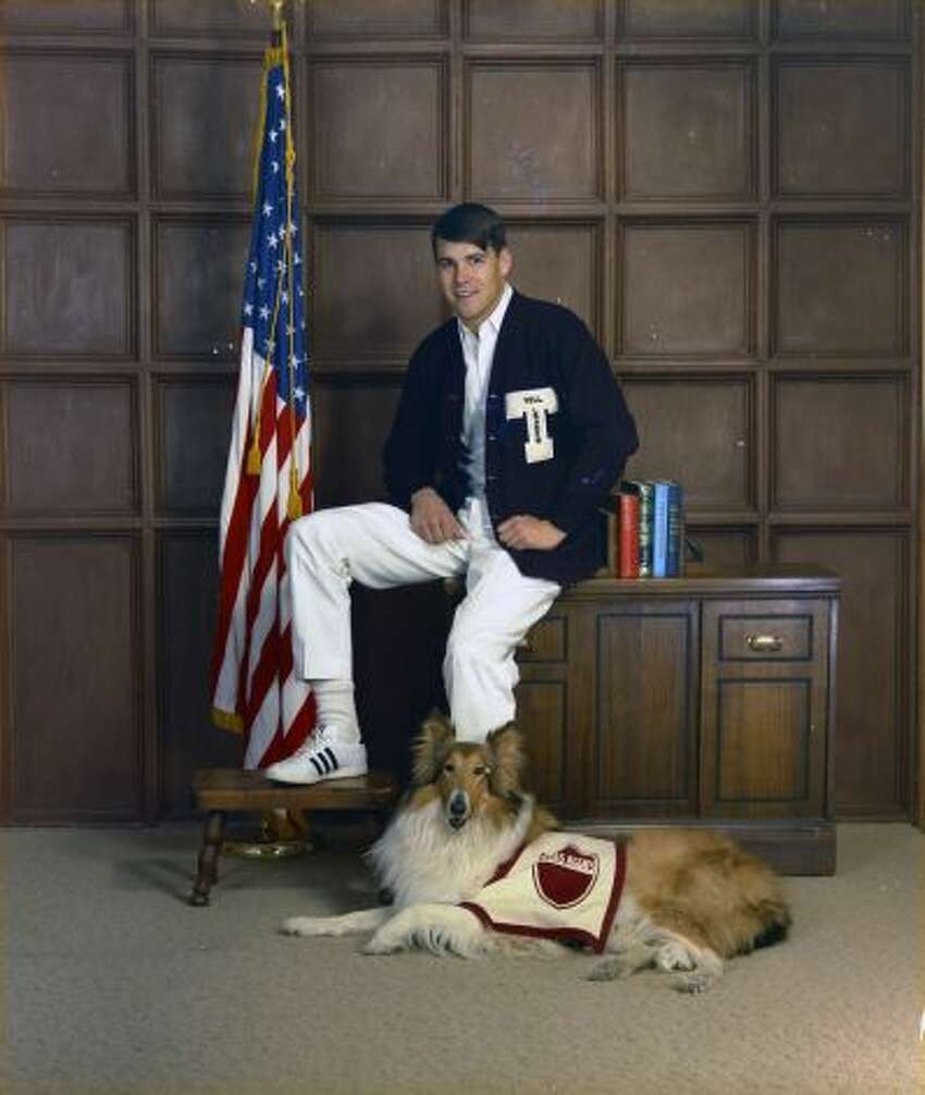 That's Texas Gov. Rick Perry as a Texas A&M Yell Leader with the most famous Aggie of them all, Reveille.