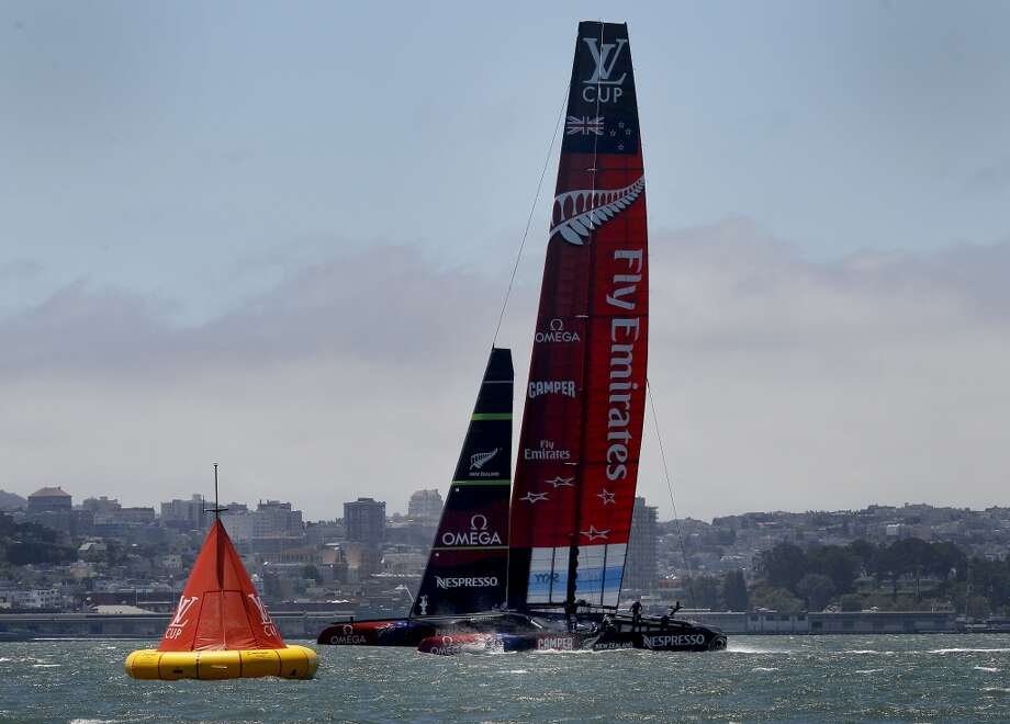 Emirates Team New Zealand reached the leeward gate in the race Sunday July 7, 2013. In the first round of America's Cup, Emirates Team New Zealand had the San Francisco bay to themselves as the Luna Rossa Challenge chose not to race.