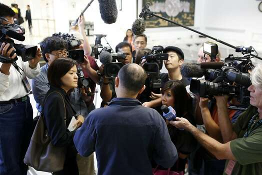 Yang Lin, a passenger of the Asiana Boeing 777 that crash landed at San Francisco International airport, talks with the media at the Chinese Consulate building in San Francisco, Calif. on July 7, 2013. Photo: Ian C. Bates, The Chronicle