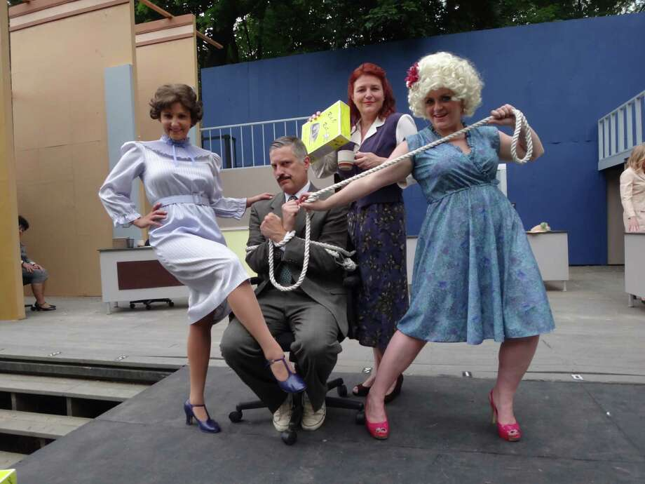 "The Musicals at Richter production of ""9 to 5"" in Danbury features (left to right) Lauren Nicole Sherwood, George Alberts, Juliette Garrison Koch and Melinda Zupaniotis. Photo: Contributed Photo"