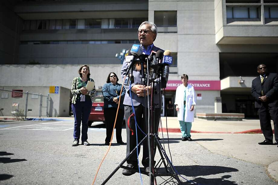 SF Mayor Ed Lee speaks during a press briefing about patients from Asiana flight 214 at San Francisco General Hospital in San Francisco, CA Sunday July 7th, 2013. Photo: Michael Short, Special To The Chronicle