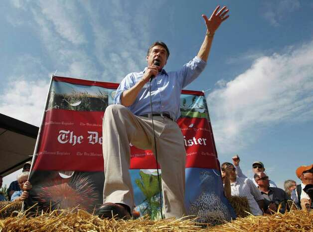 Republican presidential candidate, Texas Gov. Rick Perry speaks at the Iowa State Fair in Des Moines, Iowa, Aug. 15, 2011. Photo: AP