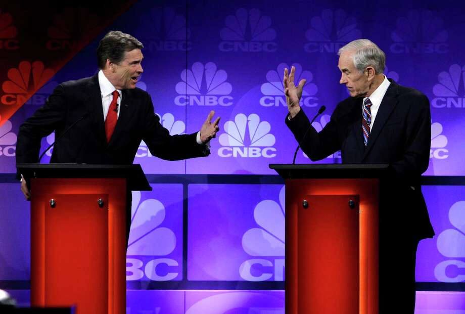 Perry's most famous gaffe came during a Nov. 9 debate in Michigan, when he could not list the three government agencies he would eliminate as president. Photo: Paul Sancya, Associated Press / AP