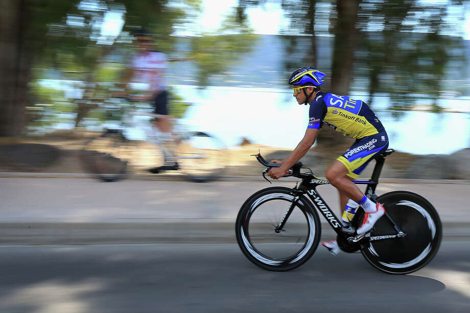 Alberto Contador of Spain riding for Team Saxo-Tinkoff leaves the team hotel for a training ride on the eve of the 2013 Tour de France on June 28, 2013 in Porto Vecchio, France. The 100th edition of Le Tour de France begins in Porto Vecchio on the island of Corsica and ends July 21 in Paris. Photo: Doug Pensinger, Getty Images / 2013 Getty Images
