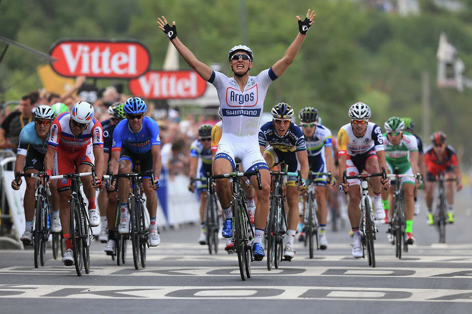 Marcel Kittel of Germany and Argos-Shimano celebrates after winning stage one of the 2013 Tour de France, a 213KM road stage from Porto-Vecchio to Bastia, on June 29, 2013 in Bastia, France. Photo: Doug Pensinger, Getty Images / 2013 Getty Images