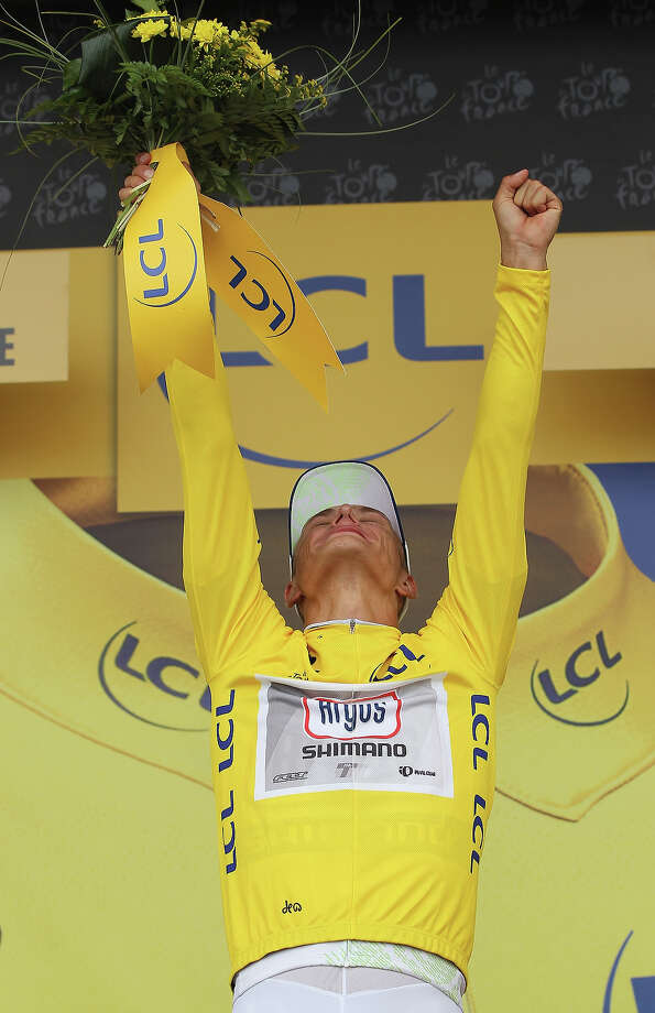 Marcel Kittel of Germany and Argos-Shimano wears the yellow jersey after winning stage one of the 2013 Tour de France, a 213KM road stage from Porto-Vecchio to Bastia, on June 29, 2013 in Bastia, France. Photo: Doug Pensinger, Getty Images / 2013 Getty Images