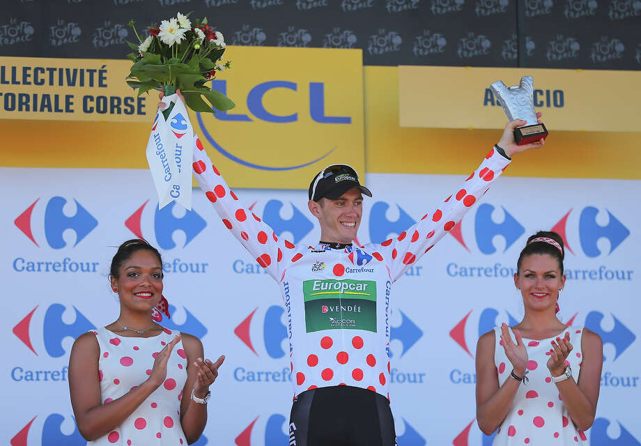 Pierre Rolland of France and Europcar wears the polka dot jersey for the best climber on the podium at the end of stage two of the 2013 Tour de France, a 156KM road stage from Bastia to Ajaccio, on June 30, 2013 in Ajaccio, France. Photo: Bryn Lennon, Getty Images / 2013 Getty Images