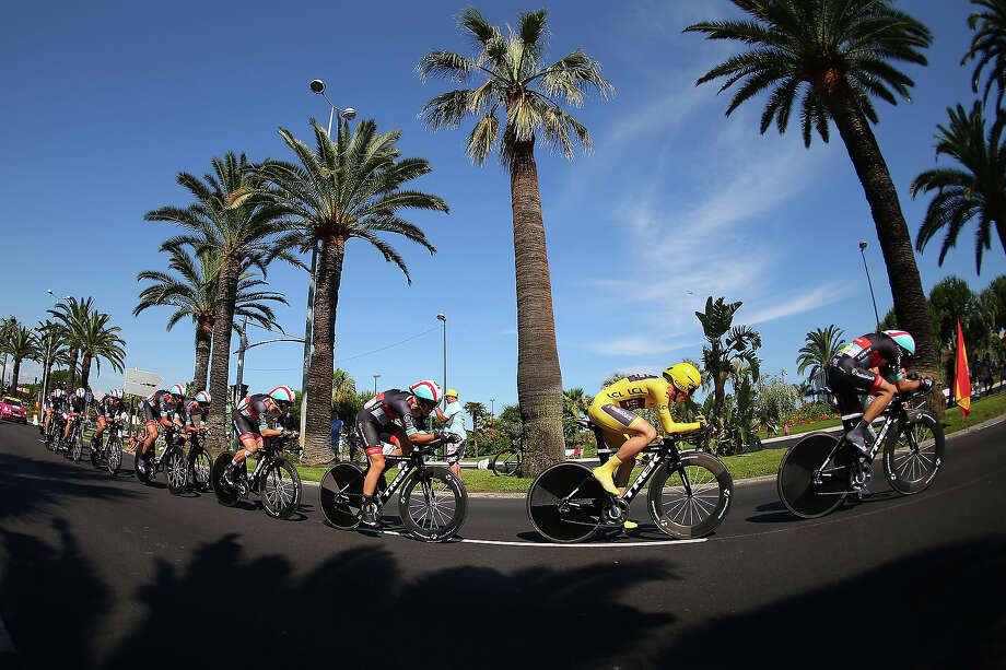 Jan Bakelants of Belgium (yellow) competes in Team Radioshack Leopard during stage four of the 2013 Tour de France, a 25KM Team Time Trial on July 2, 2013 in Nice, France. Photo: Bryn Lennon, Getty Images / 2013 Getty Images