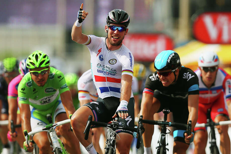 Mark Cavendish of Great Britain and Omega Pharma-Quick Step celebrates winning stage five of the 2013 Tour de France, a 228.5KM road stage from Cagnes-sur-mer to Marseille, on July 3, 2013 in Marseille, France. Photo: Bryn Lennon, Getty Images / 2013 Getty Images