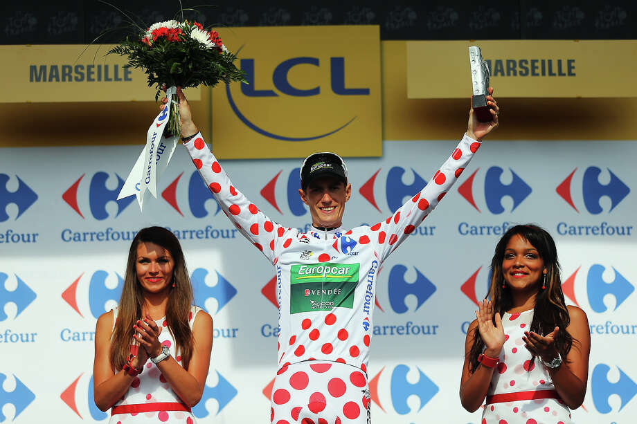 Pierre Rolland of France and Team Europcar retained the King of the Mountains (polka dot) jersey on stage five of the 2013 Tour de France, a 228.5KM road stage from Cagnes-sur-mer to Marseille, on July 3, 2013 in Marseille, France. Photo: Bryn Lennon, Getty Images / 2013 Getty Images