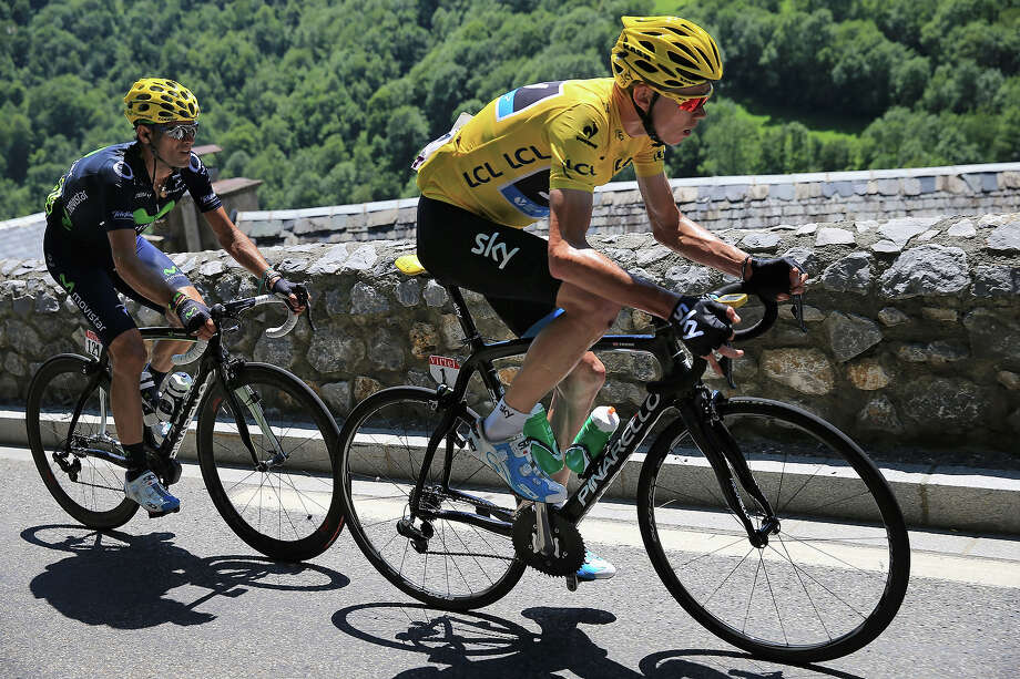 Chris Froome of Great Britain riding for Sky Procycling is followed by Aljeandro Valverde of Spain riding for Team Movistar during stage nine of the 2013 Tour de France, a 168.5KM road stage from Saint-Girons to Bagneres-de-Bigorre, on July 7, 2013 in Bagneres-de-Bigorre, France. Photo: Doug Pensinger, Getty Images / 2013 Getty Images