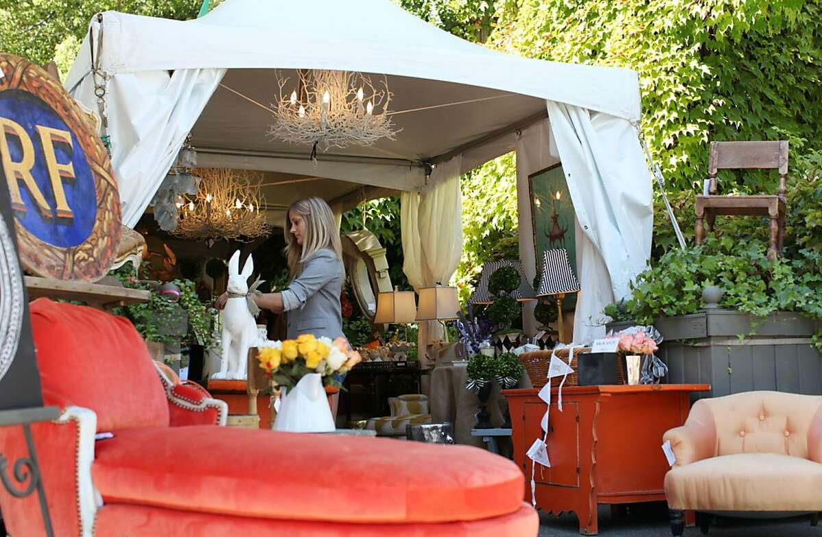 Healdsburg, CA - Interior designers Denise Trefry (cq) owner of Tallulah and Myra Hoefer (cq) hosted and curated a three day French-style antique and flea market on Saturday, September 22, 2012 featuring jewelry, furniture, lithographs and other pieces of art. The event attracted buyers and curious shoppers.
