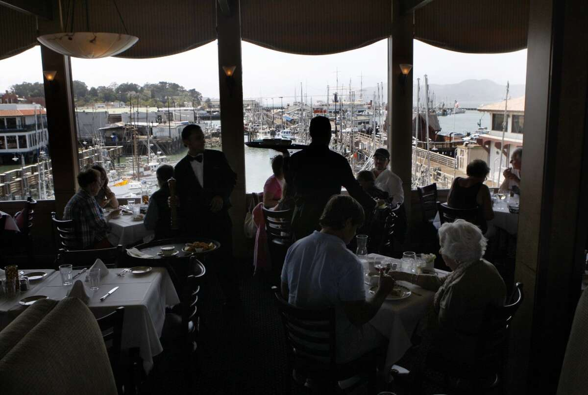 A view of the harbor from Alioto's dining room at Fisherman's Wharf.