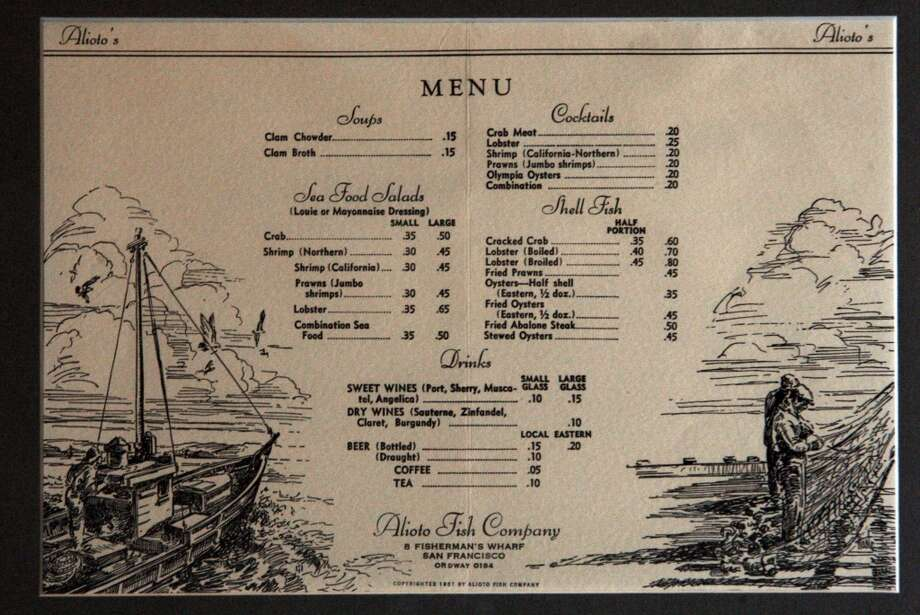 A 1937 menu of Alioto's.