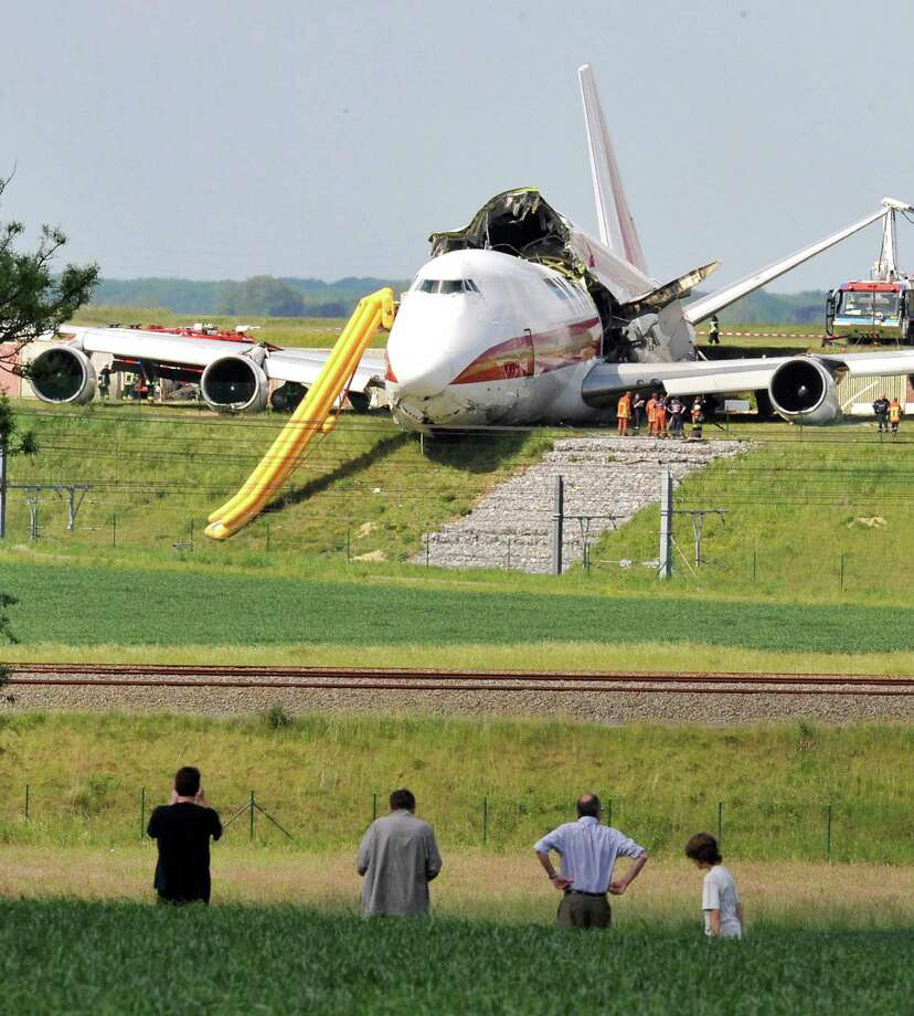 On May 25, 2008, a Kalitta Air Boeing 747 cargo plane slid off the runway during takeoff from Brussels airport and split it two. Photo: DOMINIQUE FAGET, AFP/Getty Images / 2008 AFP