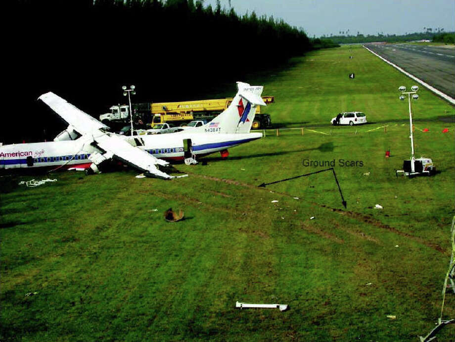 "On May 9, 2004, American Eagle flight 5401, an Avions de Transport Regional 72 operated by Executive Airlines, skipped once, bounced hard twice, and then crashed at Luis Munoz Marin International Airport, in San Juan, Puerto Rico, carrying 26 people. The airplane was destroyed, but only the captain was seriously injured. The National Transportation Safety Board blamed ""the captain's failure to execute proper techniques to recover from the bounced landings and his subsequent failure to execute a go-around."" Photo: National Transportation Safety Board"