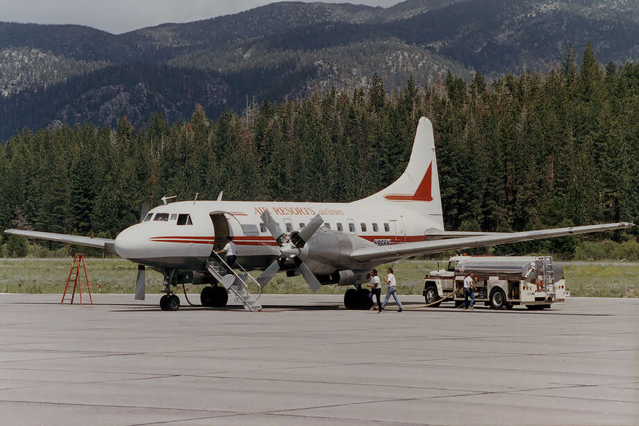 On Dec. 16, 1984, the right engine of a Air Resorts Airline Convair 440 -- similar to this later model and operatored by Flight Trails -- caught fire between Birmingham, Ala., and Oxford, Miss. The pilots diverted to Jasper, Ala. After touchdown, the right main tires failed and the airplane veered off the runway and hit a ditch, causing the gear to collapse. One passenger and one crewmember were seriously injured, but none of the 39 people aboard died. Photo: Richard Silagi, Wikimedia Commons