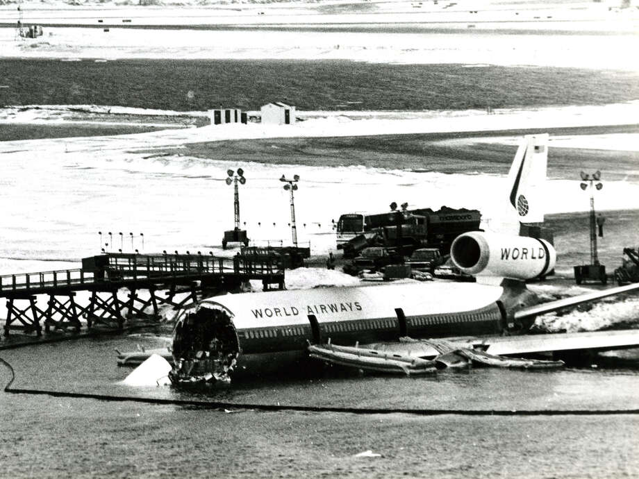 On Jan. 23, 1983, a World Airways McDonnell Douglas DC-10 landed further down an icy runway than normal in Boston, failed to stop, went over a seawall and splashed down in frigid Boston Harbor, where the front of the airplane broke off. Photo: Boston Globe, Boston Globe Via Getty Images / 2012 - The Boston Globe