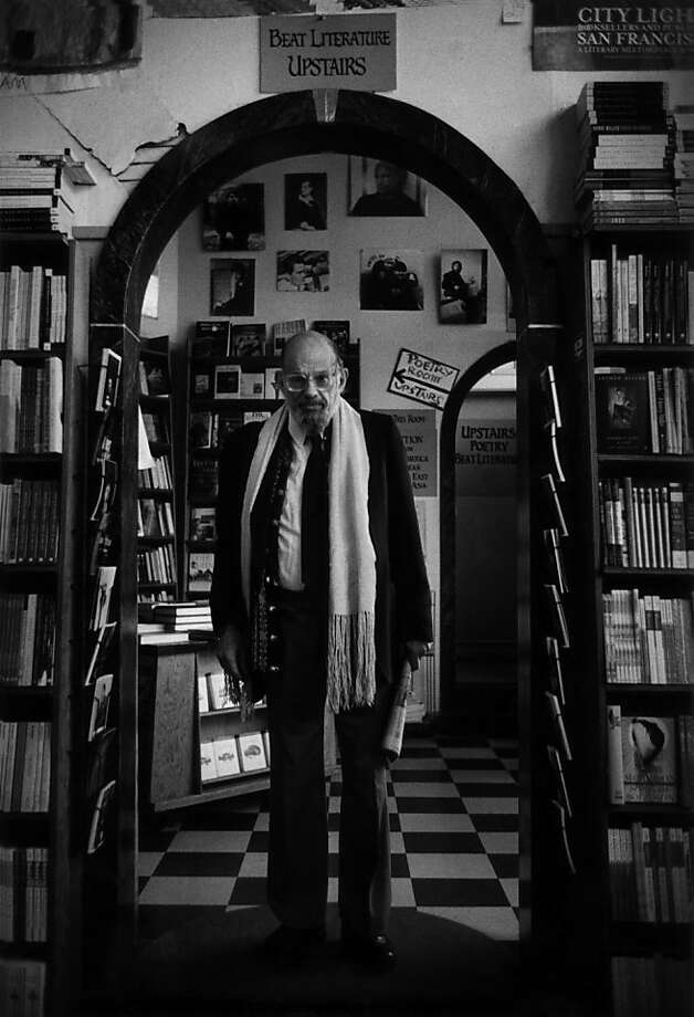 Poet Allen Ginsberg made his final visit to Lawrence Ferlinghetti's historic City Lights Bookstore in North Beach in 1997. Photo: Christopher Felver