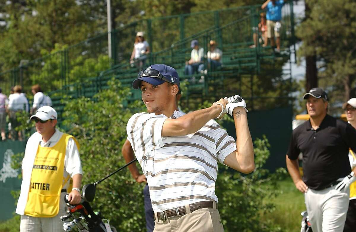 Stephen Curry tees off at the American Century Championship in Lake Tahoe in 2010.