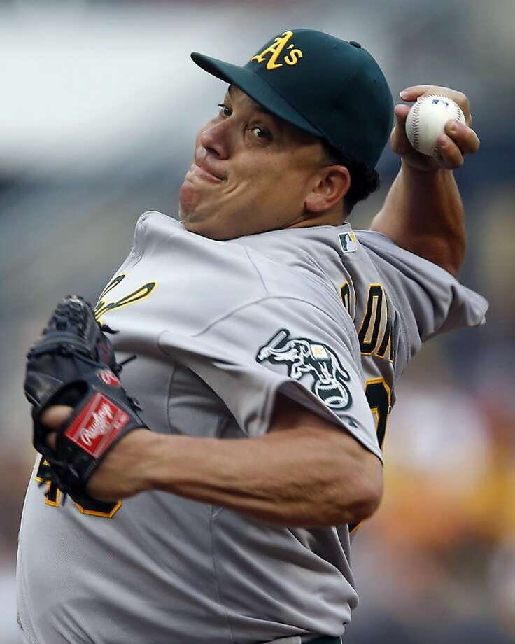 A's starter Bartolo Colon pitched into and out of jams, stranding eight baserunners. Photo: Keith Srakocic, Associated Press