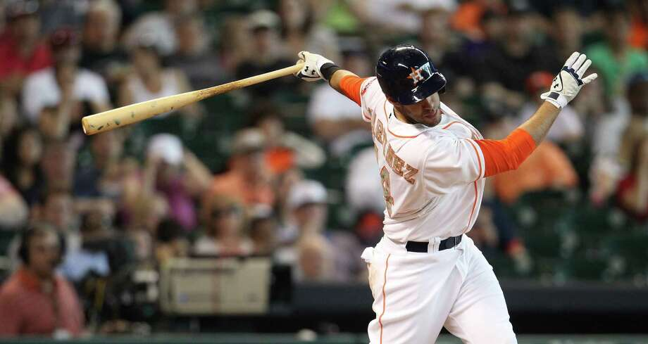 J.D. Martinez is typical of the hit-and-miss nature of the players the Astros have brought up from Oklahoma City this season, showing occasional promise and struggling at other times. Photo: Karen Warren, Staff / © 2013 Houston Chronicle