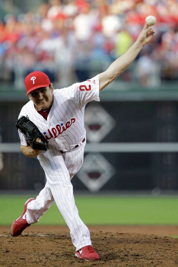 Philadelphia Phillies' John Lannan pitches during the third inning of a baseball game against the Washington Nationals, Monday, July 8, 2013, in Philadelphia. (AP Photo/Matt Slocum) ORG XMIT: PXS107 Photo: Matt Slocum / AP