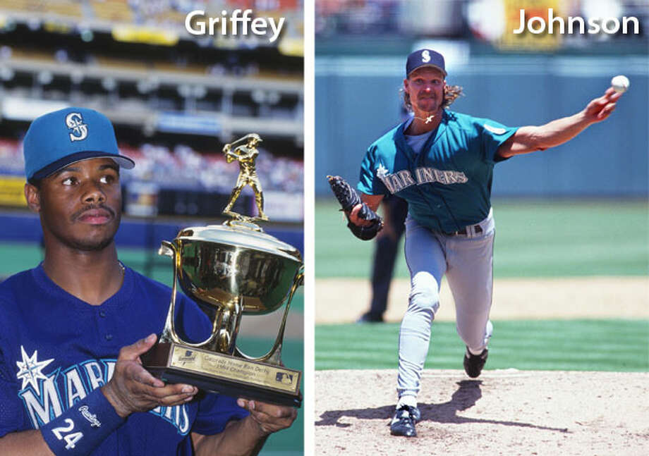 1994 | Ken Griffey Jr., Randy Johnson Location: Three Rivers Stadium, Pittsburgh | Result: NL 8, AL 7Again, for the Mariners it was the Griffey and Johnson Show at the All-Star Game. That year, Johnson led the league with 204 strikeouts, nine complete games and four shutouts. Griffey batted .323 with 40 homers and a .674 slugging percentage, finishing second in A.L. MVP voting. Photo: Getty Images