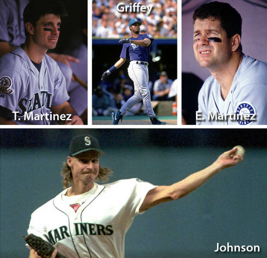 1995 | Ken Griffey Jr., Randy Johnson, Edgar Martinez, Tino Martinez Location: The Ballpark at Arlington, Texas | Result: NL 3, AL 2Ahhh, 1995. Before the Mariners' unlikely run to the postseason, they had four players in the All-Star Game. Griffey was injured, with a broken wrist, so he didn't play. Tino ended up pinch-hitting for Edgar. And Johnson, as the starter, struck out three over two innings. That year, the Big Unit won the A.L. Cy Young award after the Mariners' franchise-first postseason berth. Photo: Getty Images