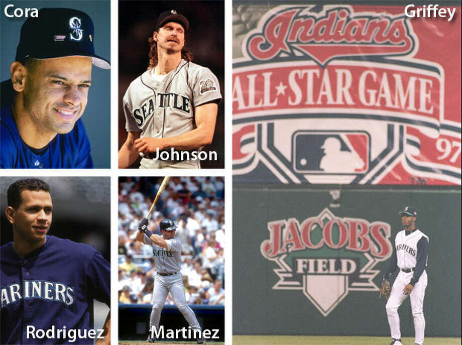 1997 | Joey Cora, Ken Griffey Jr., Randy Johnson, Edgar Martinez, Alex Rodriguez Location: Jacobs Field, Cleveland | Result: AL 3, NL 1Another star-studded Mariners team netted five All-Stars again in 1997. The M's went back to the playoffs that year, but first Edgar Martinez went 2-for-2 in the All-Star Game with a solo homer and five total bases, and Randy Johnson started with two strikeouts. Griffey was named A.L. MVP that season, when he had 56 homers and 147 RBIs. Photo: Getty Images