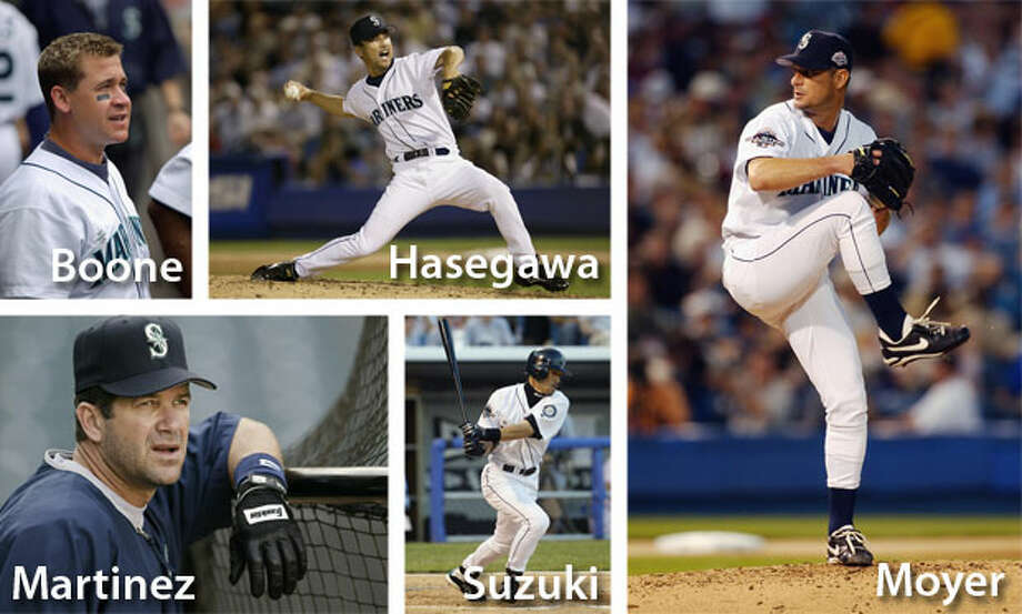 2003   Bret Boone, Shigetoshi Hasegawa, Edgar Martinez, Jamie Moyer, Ichiro Suzuki Location: U.S. Cellular Field, Chicago   Result: AL 7, NL 6It was Jamie Moyer's only All-Star season in his 25-year career -- a year he went 21-7 in 33 starts with a 3.27 ERA. The '03 M's finished 93-69 but second in a strong A.L. West. It was Martinez's final All-Star Game, at age 40. Bret Boone finished the season with 35 homers and 117 RBIs. Shigetoshi Hasegawa ended the year with a 1.48 ERA in 63 appearances. Photo: Getty Images
