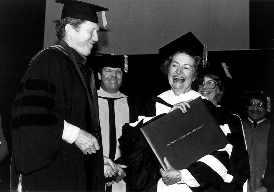 Lady Bird Johnson was awarded an honorary doctor of humane letters degree at Southwest Texas State university's commencement Saturday, May 14,1983. Lady Bird became the second person in SWT's 80-year history to receive an honorary diploma.The first was awarded to her husband, a 1930 SWT graduate, in 1962 when he was vice president of the United States. The degree was conferred by SWT President Robert L. Hardesty. Courtesy photo Photo: COURTESY PHOTO