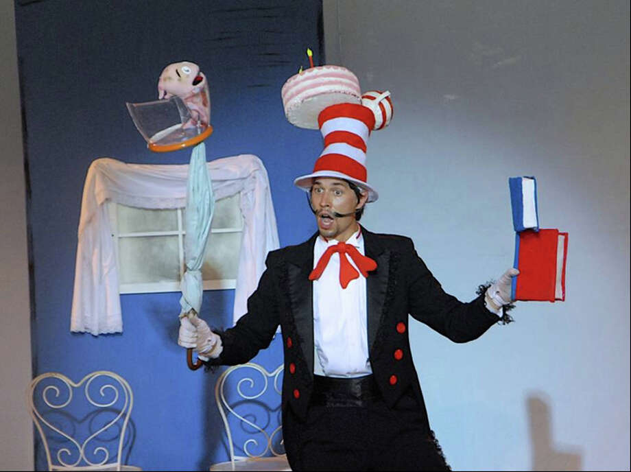 "Patrick Berger plays the Cat in Dr. Seuss' ""The Cat in the Hat,"" presented on weekends by the Summer Theatre of New Canaan at Waveny Park through Aug. 11. Photo: Contributed"