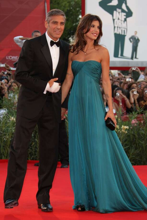 George Clooney and Elisabetta Canalis at ''The Men Who Stare at Goats'' premiere in 2009.