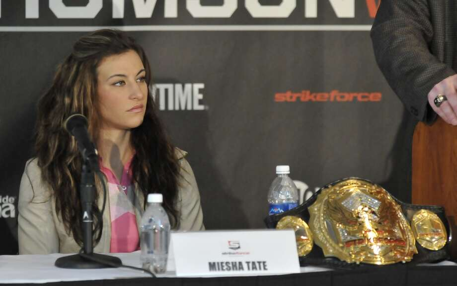 Miesha Tate takes questions from the media during the Strikeforce: Tate v. Rousey press conference at Nationwide Arena in Columbus, Ohio, on March 1, 2012.