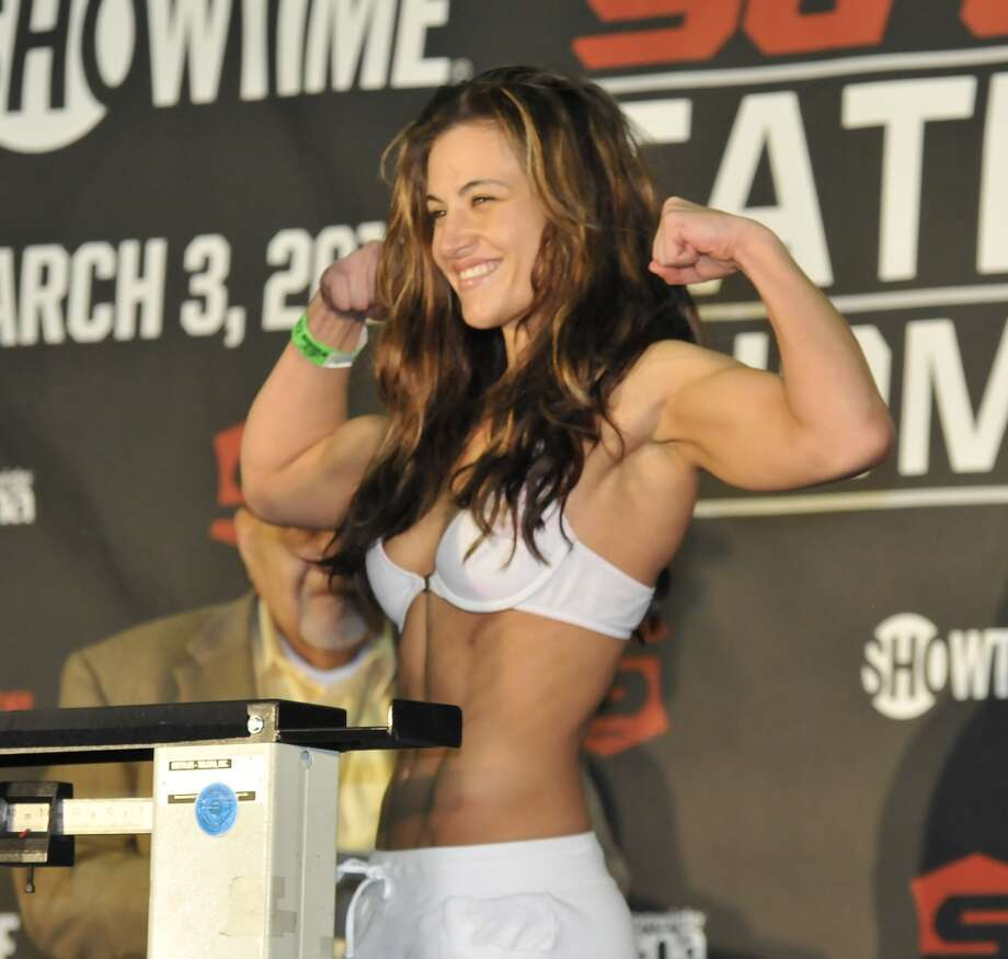Miesha Tate weighs in during the Strikeforce Tate v. Rousey official weigh in at Columbus Convention Center on March 2, 2012, in Columbus, Ohio.