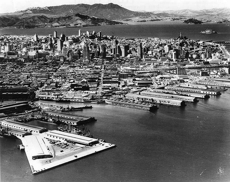 1946 view of Pier 50 and Mission Rock in Mission Bay. Photo: SF History Center / FoundSF.org