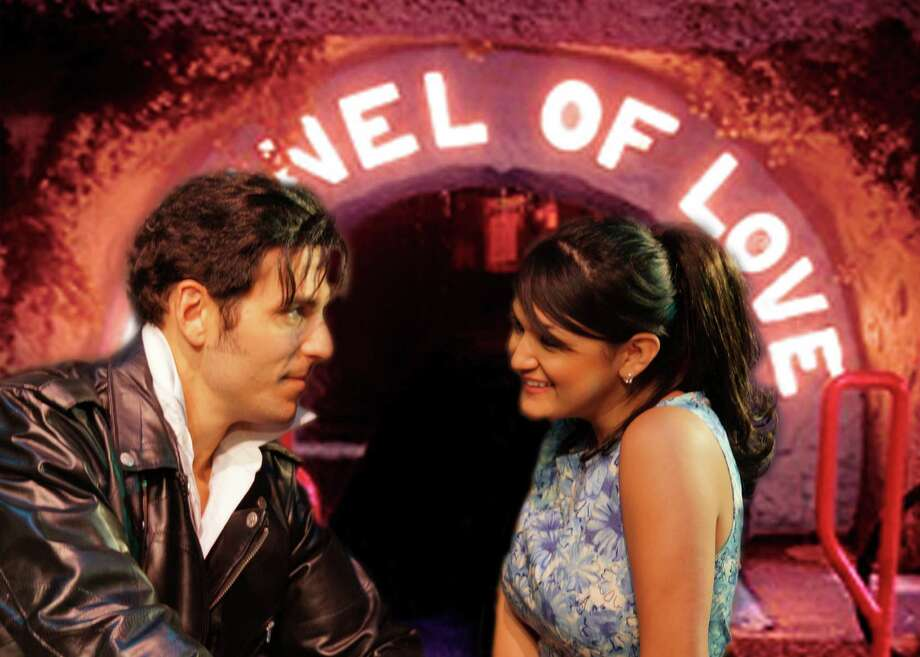 "Chad (Brent Bel) and Natalie (Jovi Lee Gonzales) get together in a plot that borrows from Shakespeare in ""All Shook Up"" at the Cameo Theatre. Photo: Courtesy Jonathan Pennington"