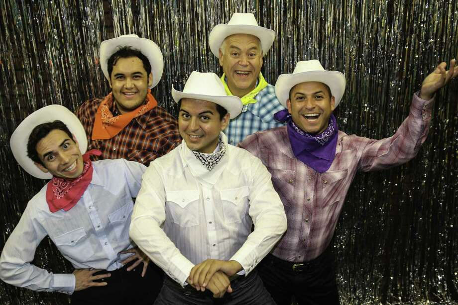 """When Pigs Fly"" features Rick Sanchez (clockwise, from left), Gerardo Vallejo, Kevin Murray, Michael J. Gonzalez and Isidro Medina. Photo: Courtesy Woodlawn Theatre"
