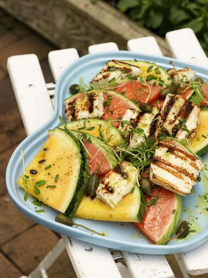 Redbook recipe for Grilled Haloumi Cheese and Watermelon Salad. Photo: Jonny Valiant